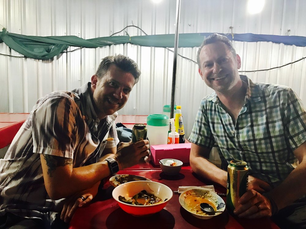 Wally and Duke enjoyed their delicious — and dirt cheap — meal on Suthep Road