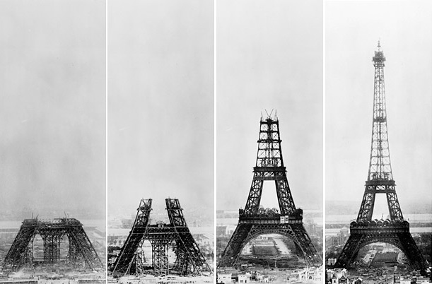 The stages of the Eiffel Tower's construction