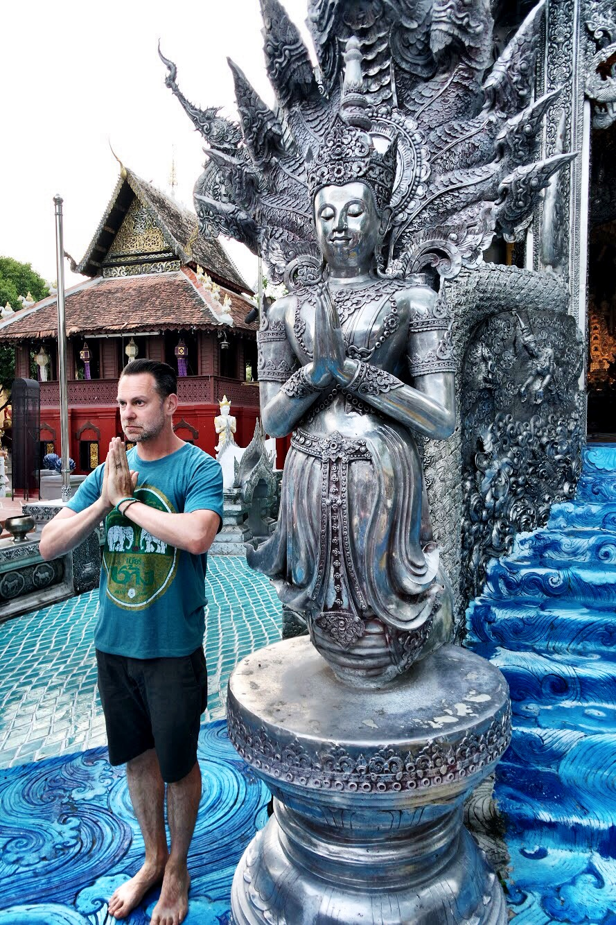 A cool water motif surrounds the temple. Duke tries to reach enlightenment like the Buddha — without a naga umbrella