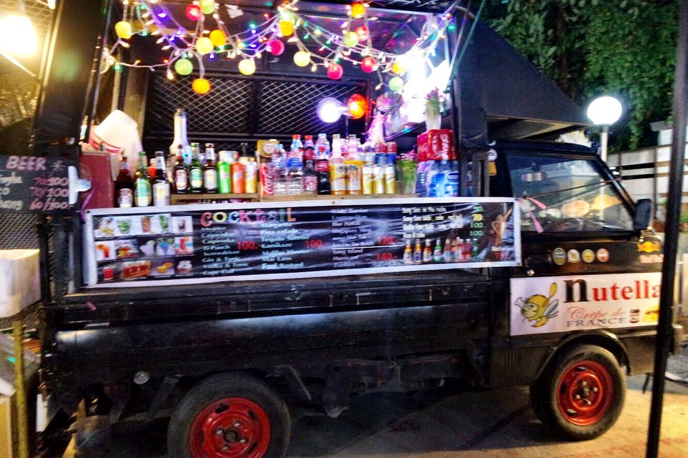 Just follow the flashing lights and pumping music to find your way to the booze cart at the back of the food court