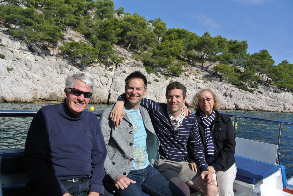 Wally's dad, Duke, Wally and the infamous Shirl on their boat excursion to see the calanques