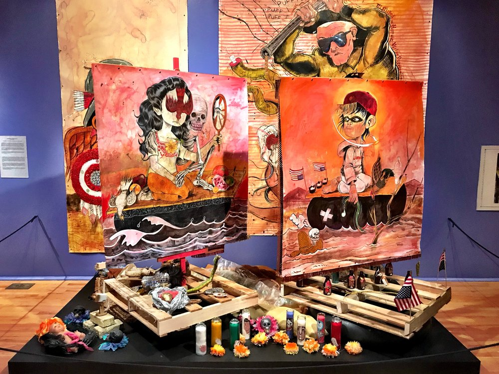 This ofrenda at the National Museum of Mexican Art was created by a graphic novelist, Raúl the Third