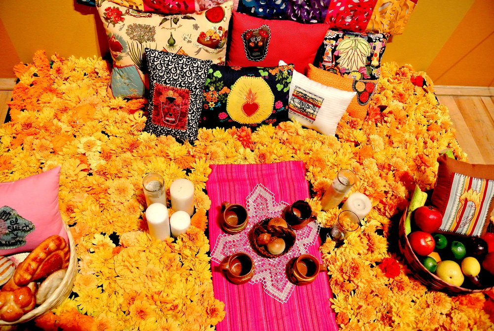 The fun bright orange marigolds are common decorations during el Día de los Muertos