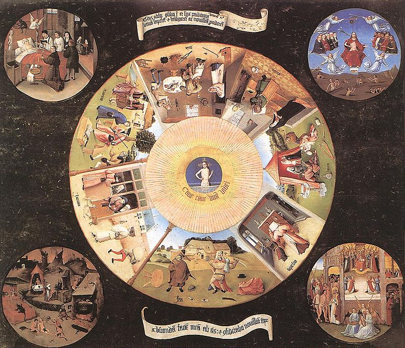 The Seven Deadly Sins and the Four Last Things  is attributed to Hieronymus Bosch, though some scholars think it might be by one of his followers