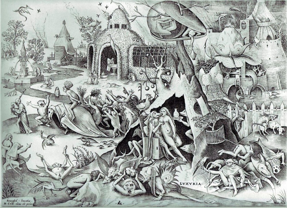 Pieter Bruegel's  Lechery , part of a series of etchings and engravings from 1558 on each of the Deadly Sins