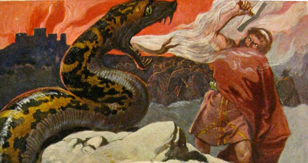 Thor defeats the massive serpent Jormungand — but perishes from its poison right after