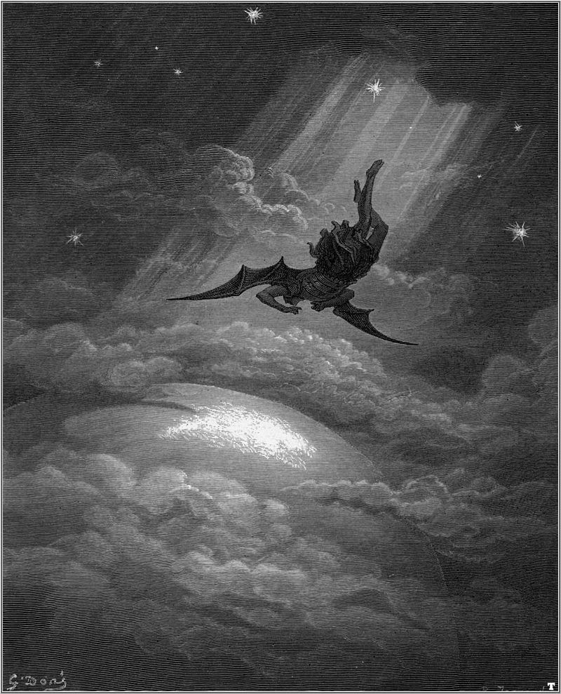 In another Paradise Lost illustration, this one by Gustave Doré, Lucifer is cast out of Heaven by God