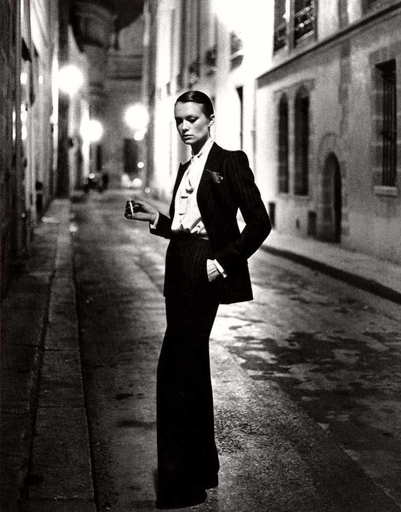 YSL's genderbending aesthetic included le smoking, a feminized take on the tux