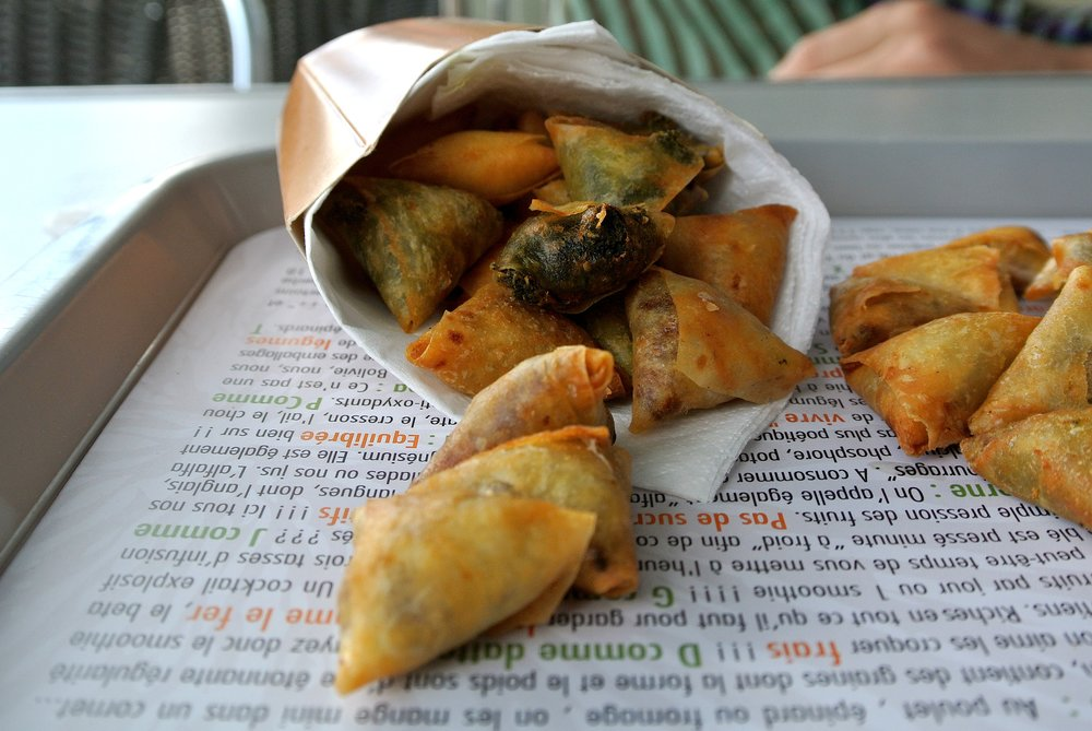 Spinach-filled phylo puffs at the neighboring Kaowa Café