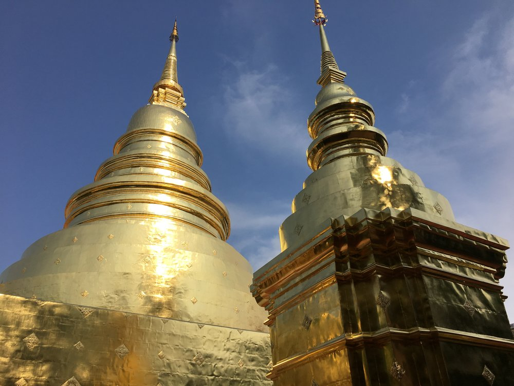 The pagodas found on Thai temple grounds hold some sort of sacred relic