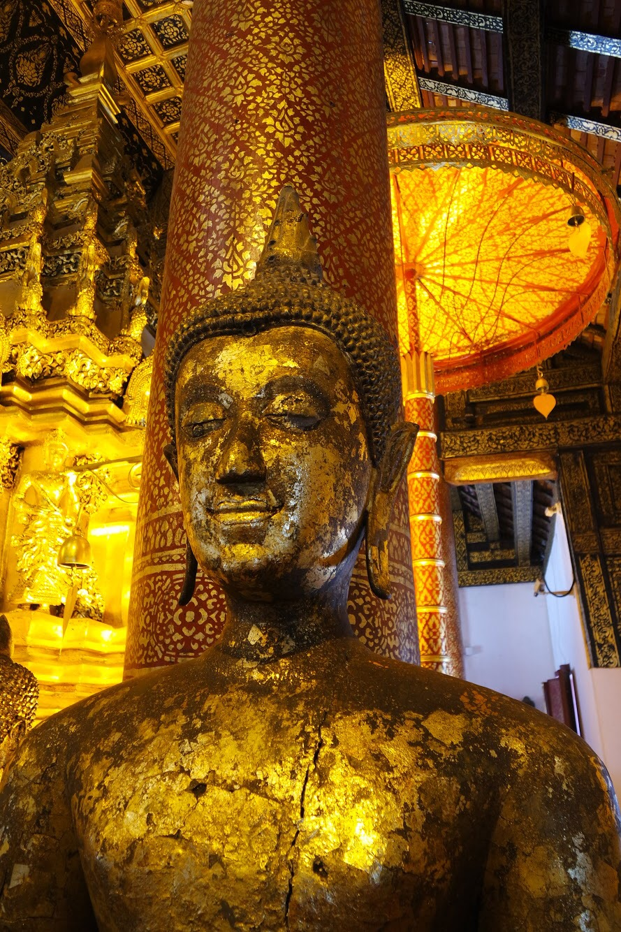 Some of the statues are covered in gold leaf