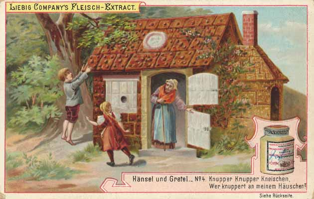 The gingerbread house, as seen in this old advertisement, is actually a symbol of… a good mother, who offers up her breast for nourishment?!