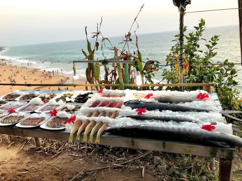 The restaurants in Varkala, another day trip from Kovalam, put their fresh catches on display