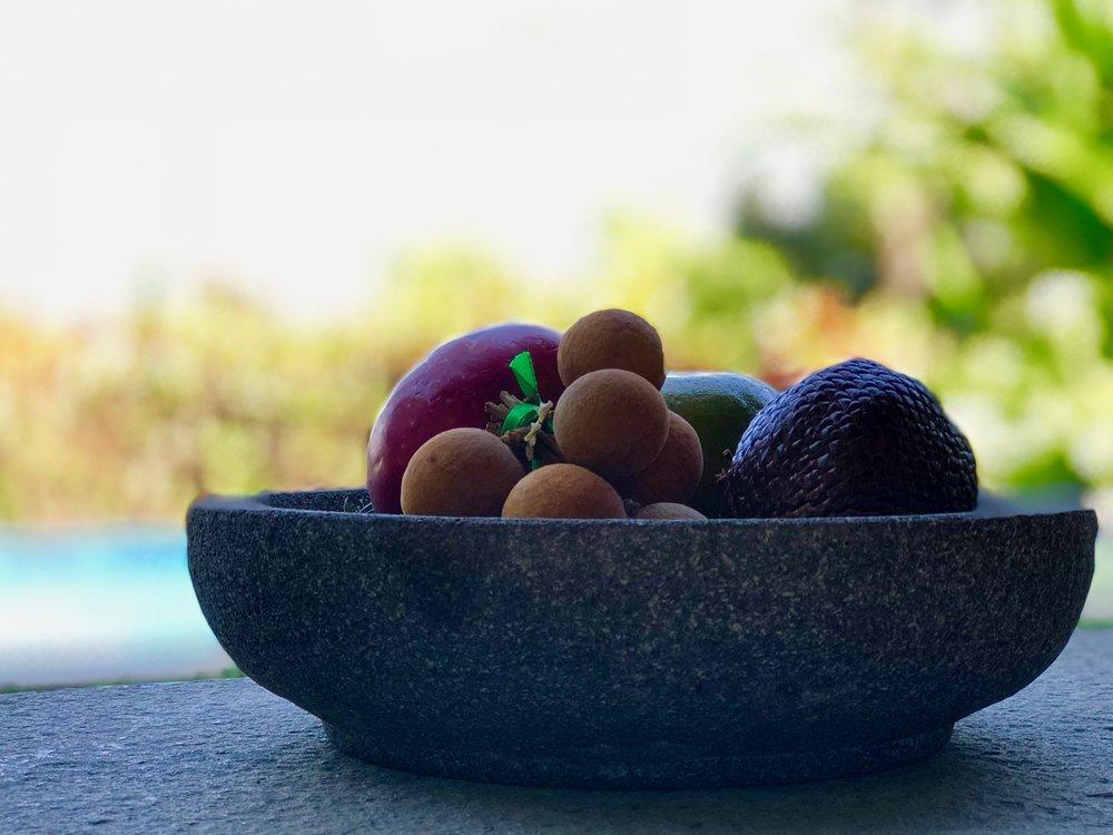 A fruit bowl at our villa