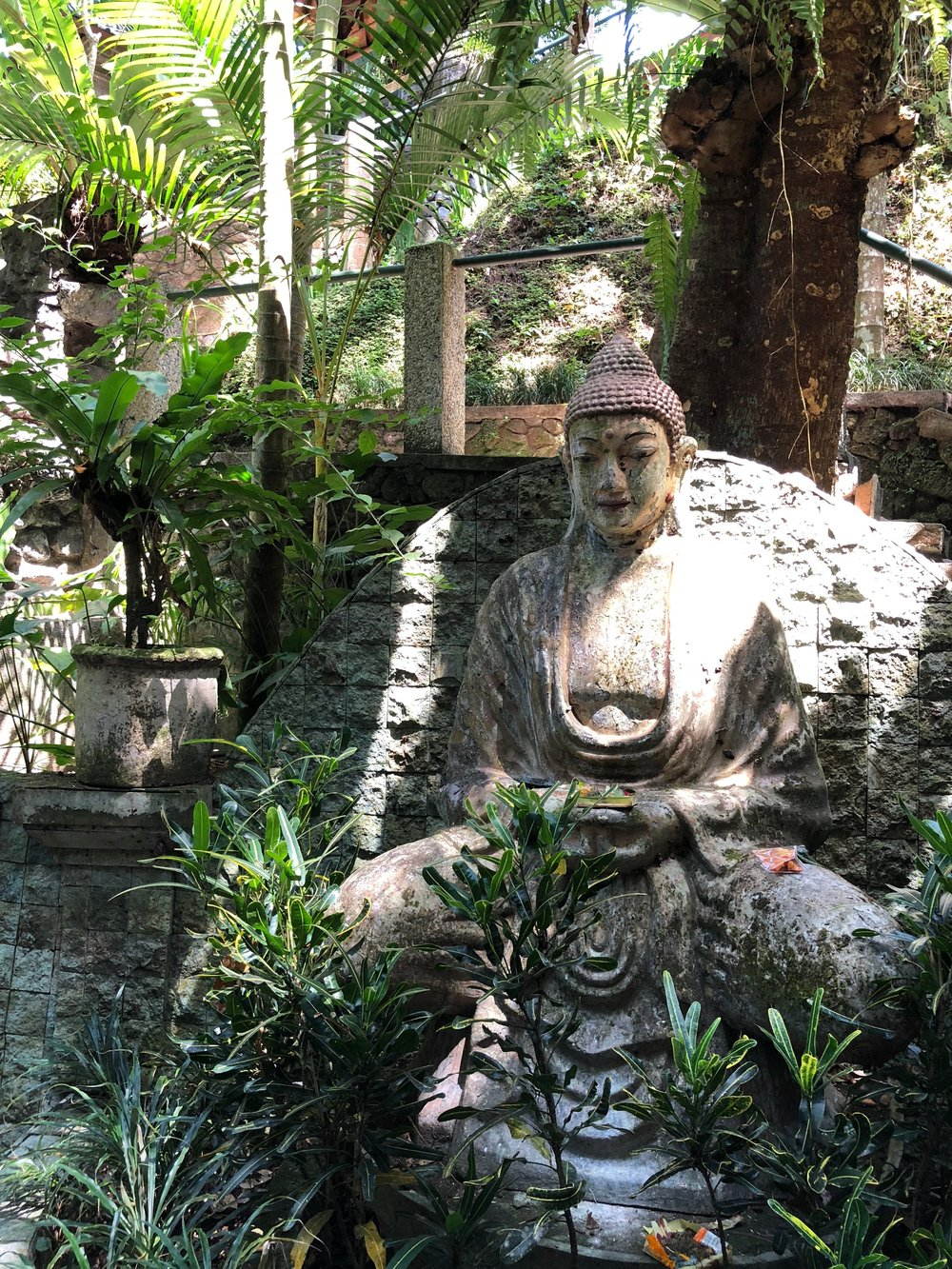 Statues of the Buddha are tucked into various nooks on the spa grounds