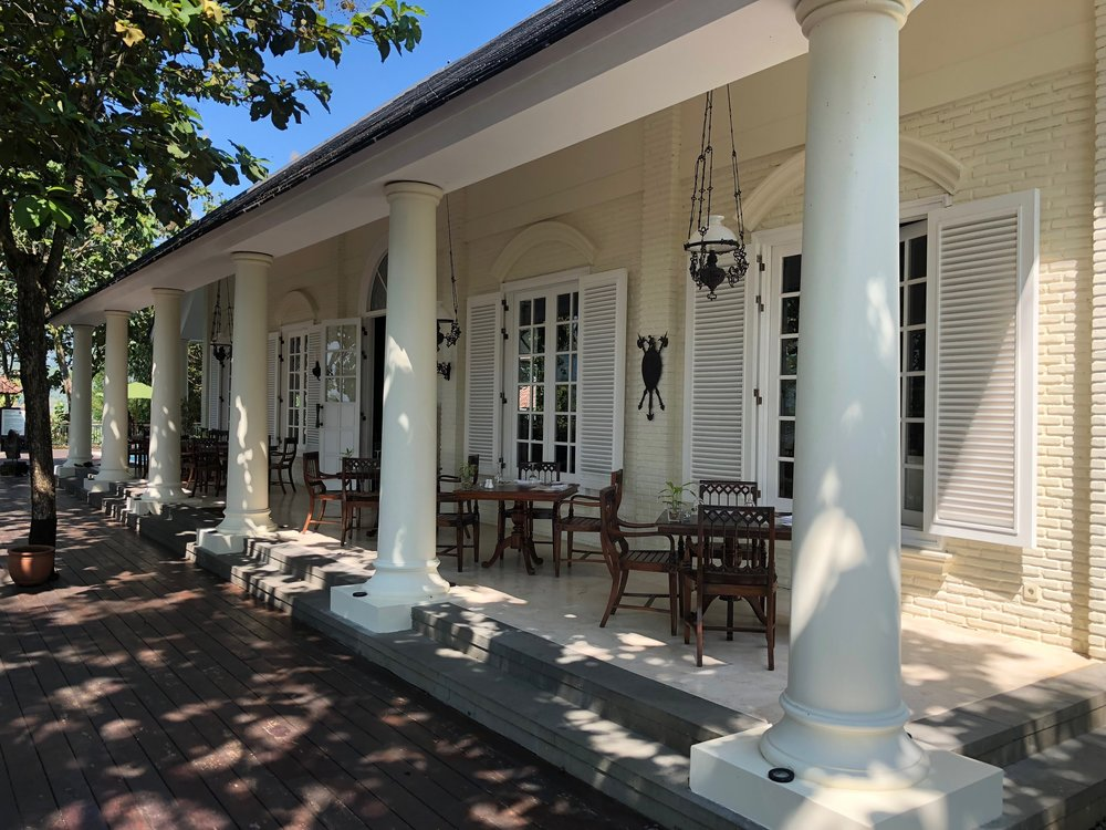 The main restaurant at Plataran Borobudur is modeled after a Dutch Colonian plantation house