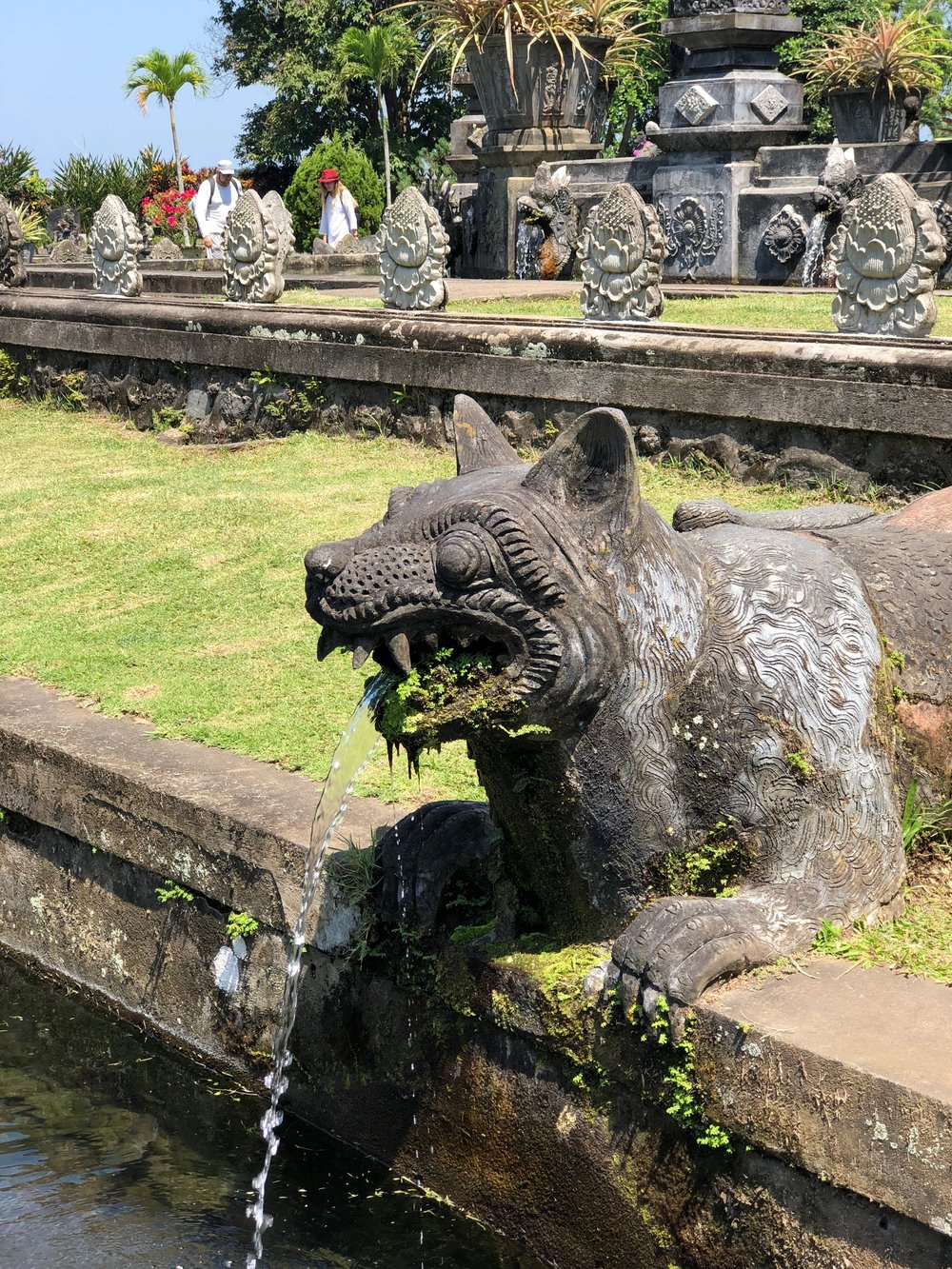 The waterspouts at Tirta Gangga depict various creatures