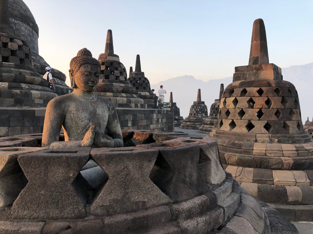 There were 504 Buddha statues under the bell-shaped stupas because that's how many times Buddha was reincarnated