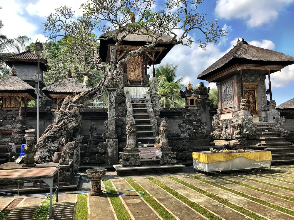 The interior courtyard of the pura dalem was locked — but that didn't stop us from finding a way in