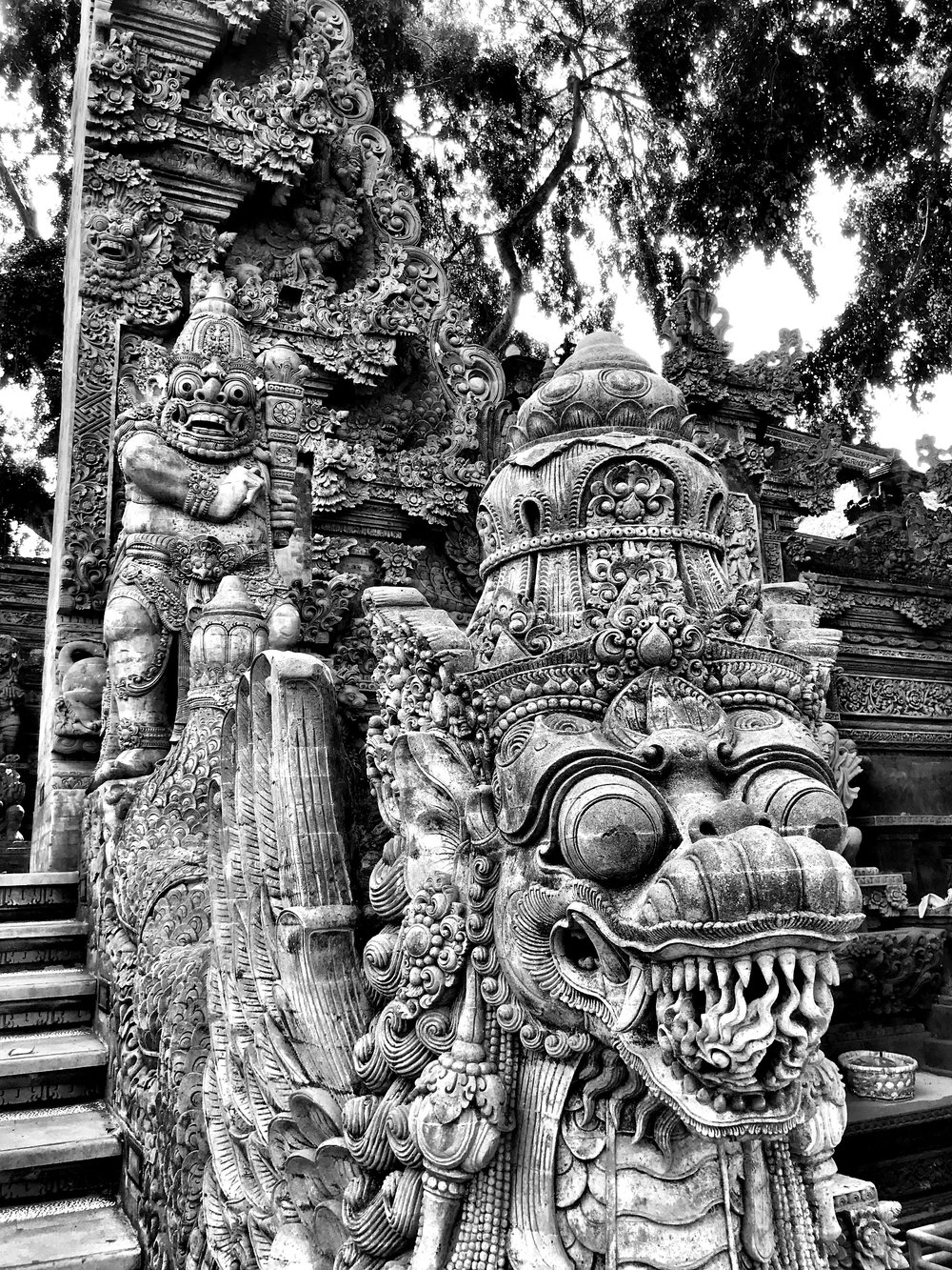 Many Hindu temples have balustrades that run the length of staircases in the shape of snakelike naga