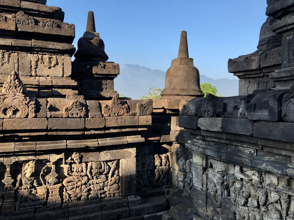 The carvings on some of the levels of Borobudur tell the story of the Buddha as well as his past reincarnations
