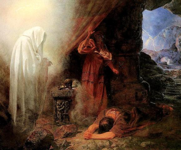 The trouble with predicting the future is that sometimes it sucks:  Saul and the Witch of Endor  by Edward Henry Corbould, 1860