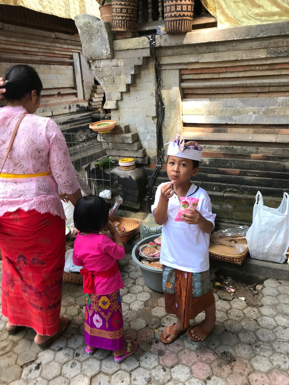 Children probably spend hours at the temple during the festival and snack throughout the day