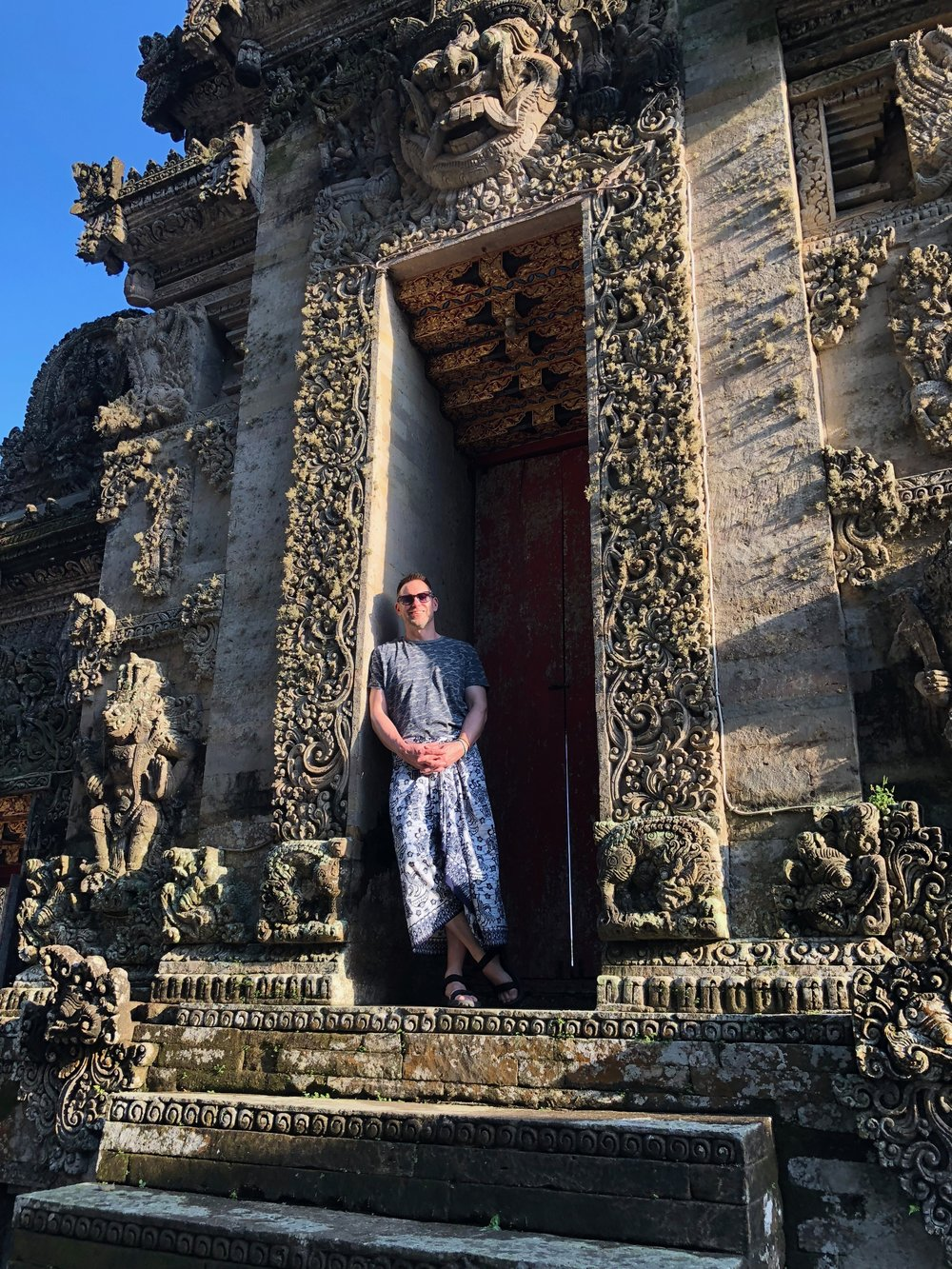 You have to wear a sarong like Duke when visiting a temple on Bali