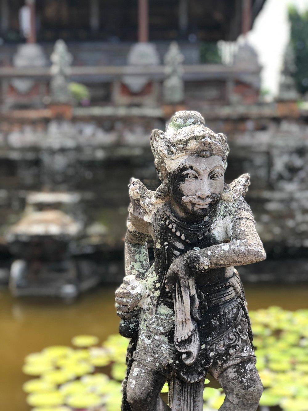 Lichen covers many of the statues on Bali, lending an ancient otherworldly air to them