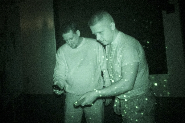 The  Ghostfacers  crew has some competition, including Josh Burger and Stan Maczek, shown using an electromagnetic field (EMF) detector