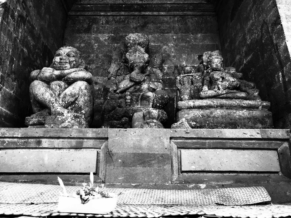 Statues fill a niche. Compared to other holy sites on Bali, Goa Gajah is quite small