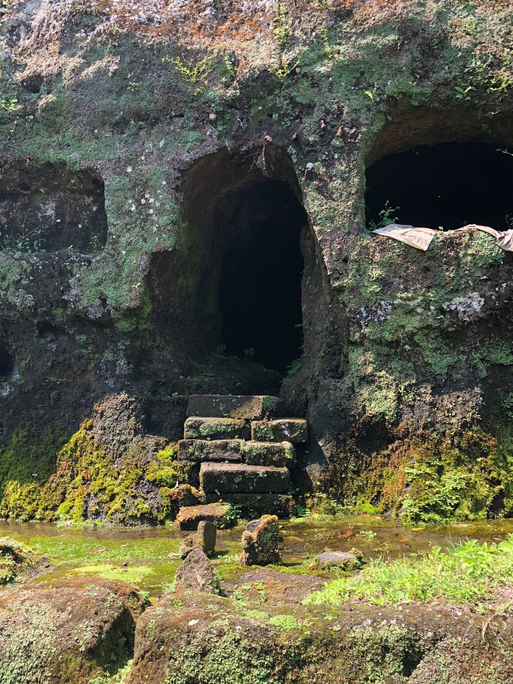 The caretakers didn't get the best digs — they lived in these caves