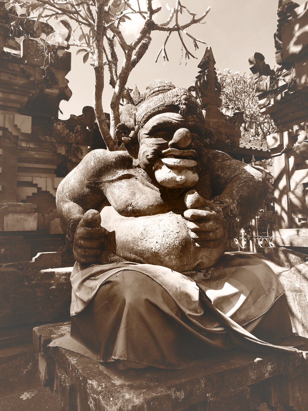 Grotesque statues like this one are characteristic of Gusti Nyoman Lempad's style