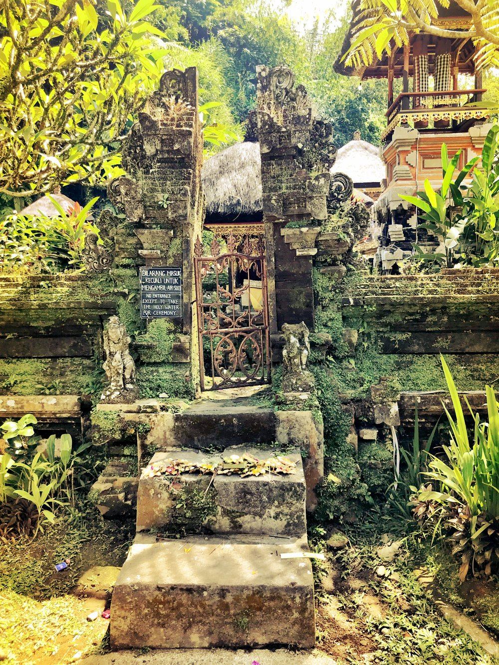 The lichen-covered stones lend Balinese temples an ancient air