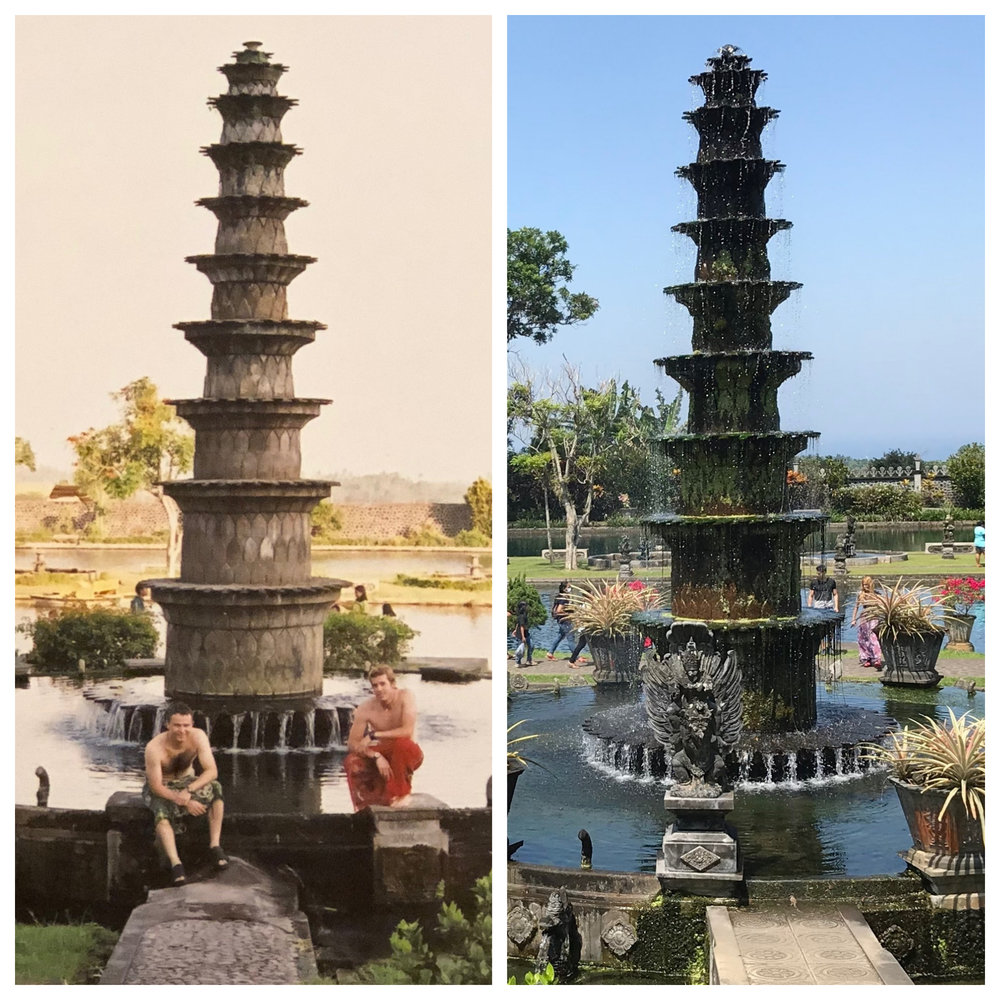 Bali then: Malcolm and Wally at Tirta Gangga's lotus fountain in 2001  Bali now: The royal water garden has been renovated and is much more crowded