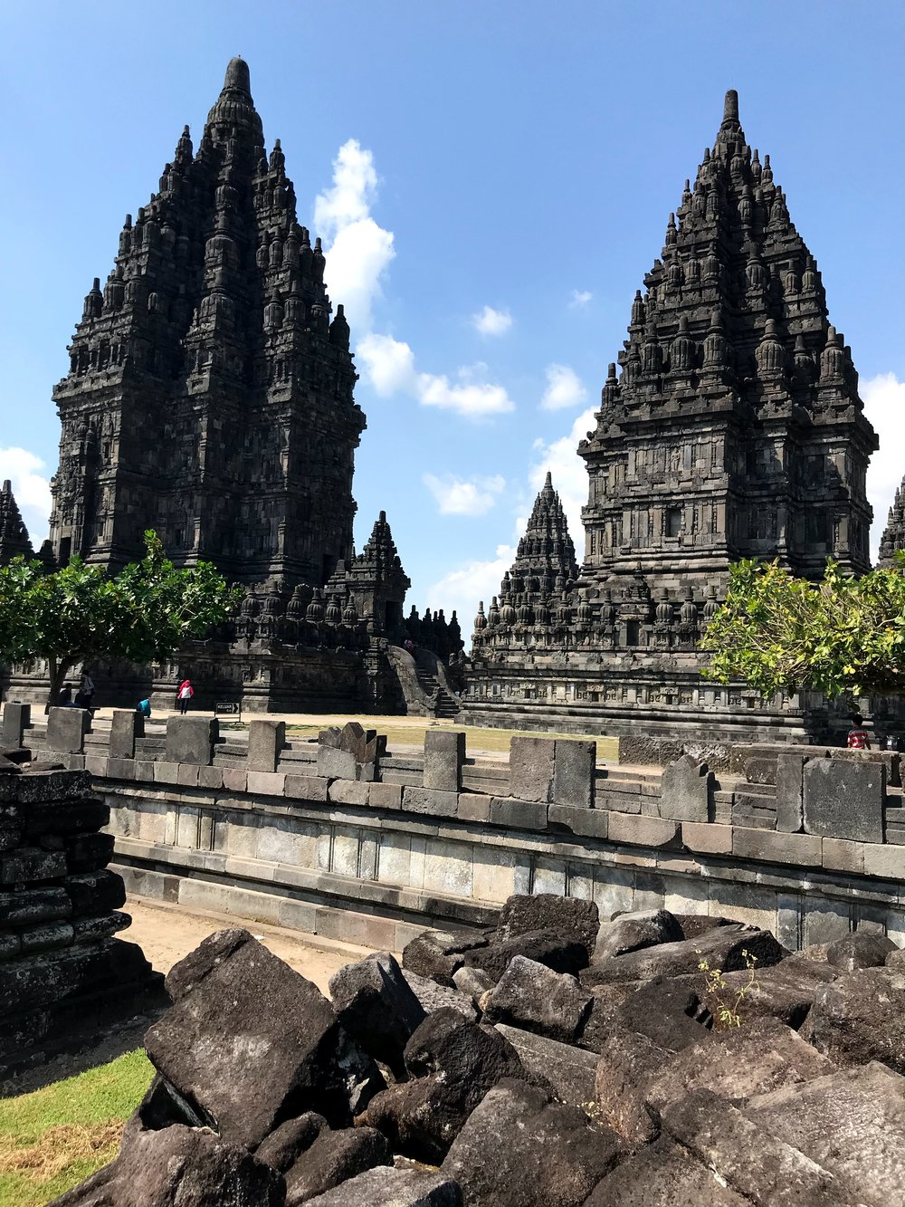 The peaks of the temples rise into the sky — a bit higher than Borobudur