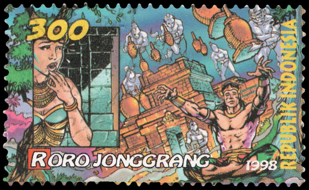 An Indonesia stamp commemorates the legend of Roro (aka Loro) Jonggrang and the magician Bandung Bondowoso, who summoned demons to perform a seemingly impossible task