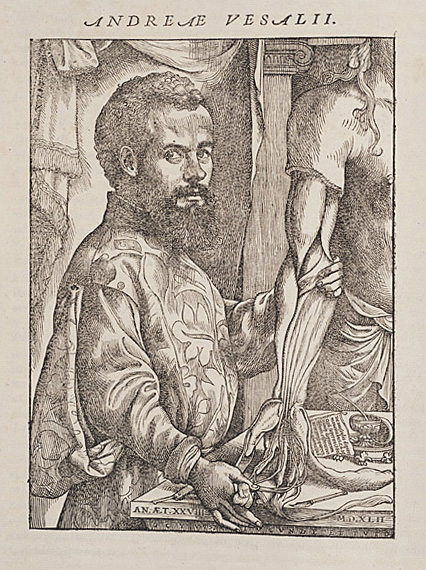 A portrait of Vesalius from  De Humani Corporis Fabrica  (1543)