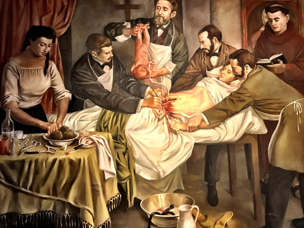 An early C-section in Latin America, where they actually gave woman pain relievers, unlike Westerners at the time, who thought childbirth was supposed to hurt like hell (thanks, Eve!)