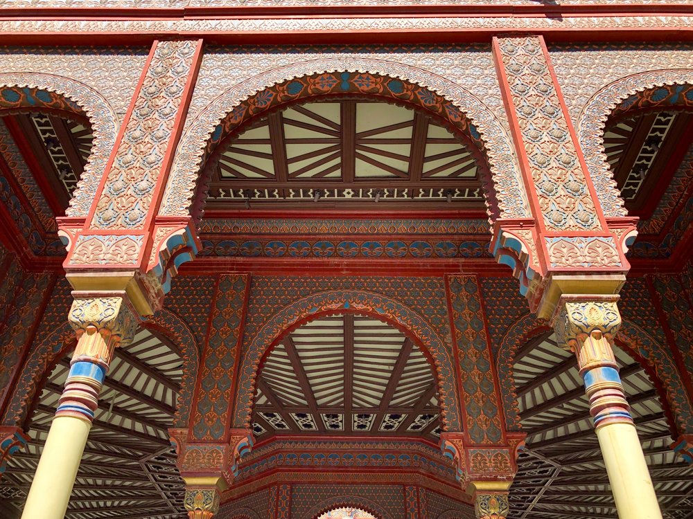 The style is Mudéjar, a mix of Spanish and Moorish architecture