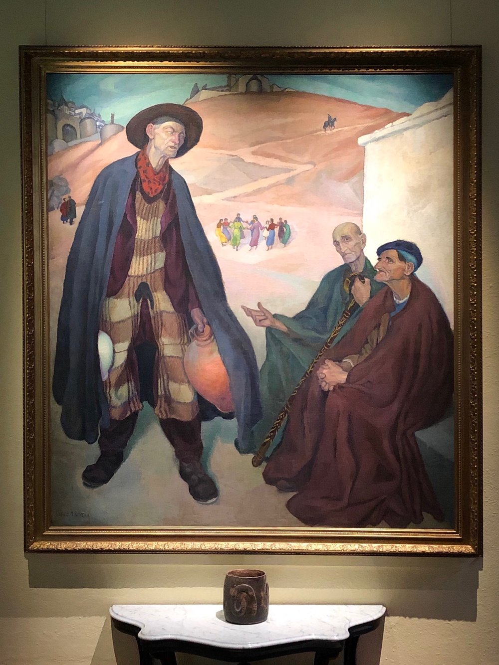 In the Outskirts of Toledo (The Old Men)  reflects the influence of El Greco, whose work Rivera studied while living in Spain