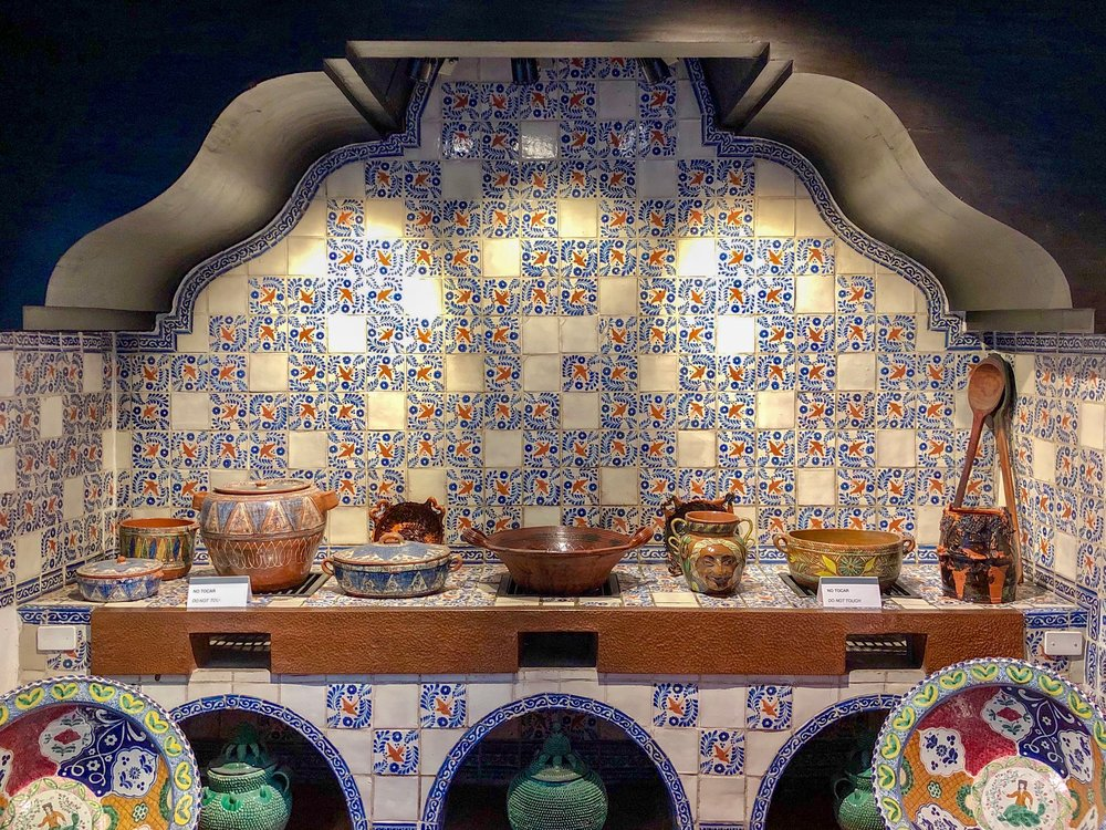 The Colonial kitchen is covered with hand-painted Talavera tile from Puebla, with a swallow bird motif, and was preserved from the 16th century hacienda