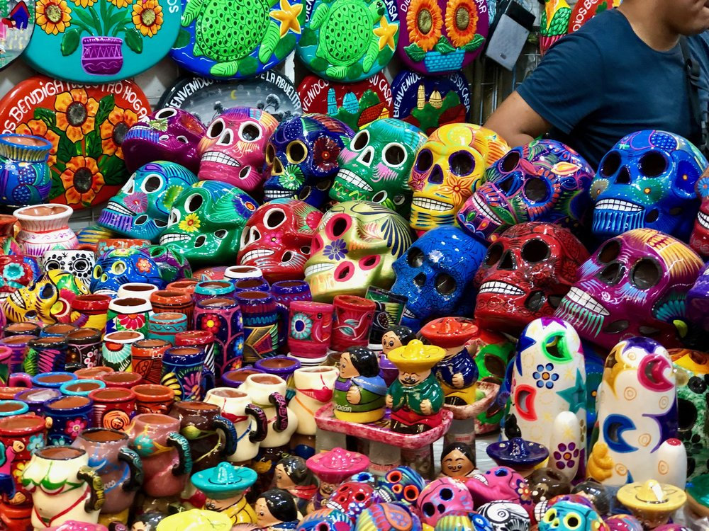 Colorful skulls on offer at the craft market