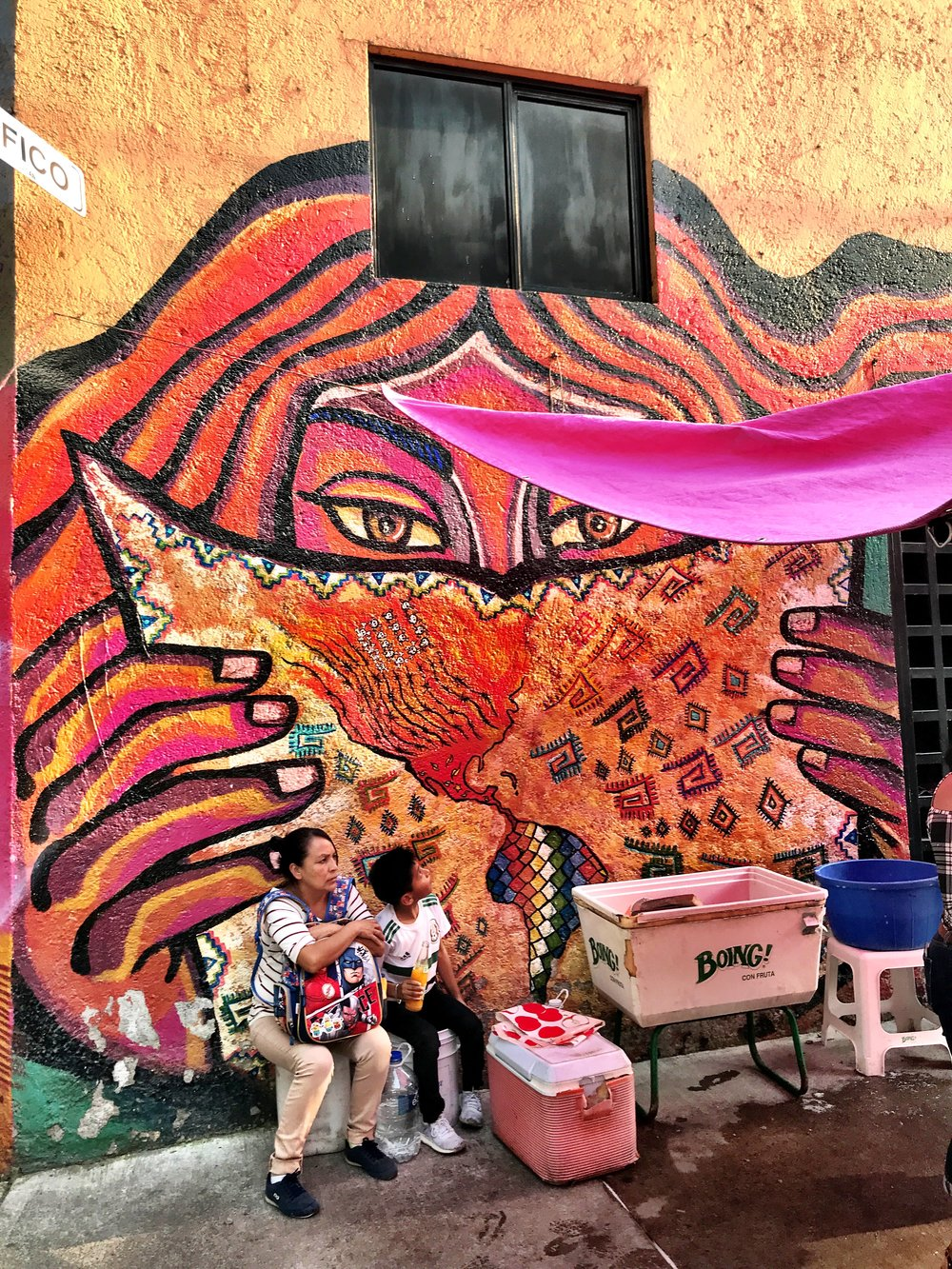 A colorful mural across from Frida Kahlo Park caught our eye