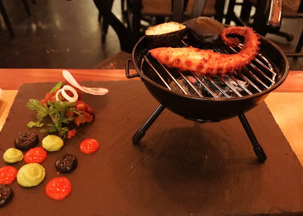 The pulpo came on an adorable tiny grill