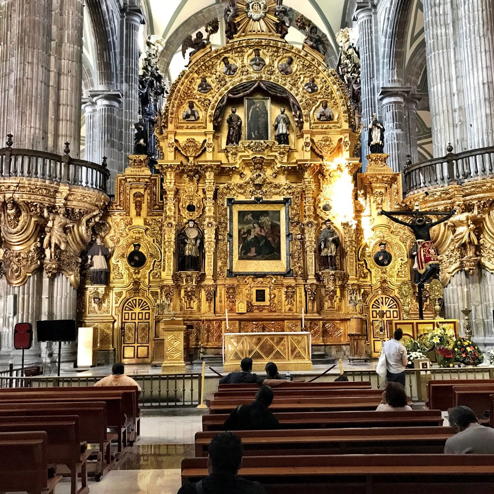 This over-the-top golden altar is just one of many inside the massive cathedral