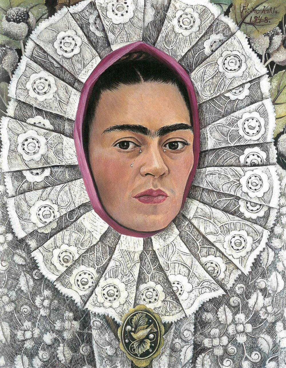Many of Frida's paintings were self-portraits, like  Autorretrato  from 1948