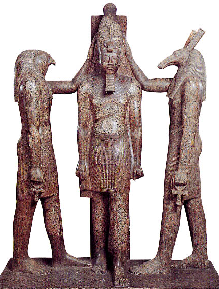 The young falcon-headed god Horus battles his canine-headed evil uncle Seth to become pharaoh of Egypt