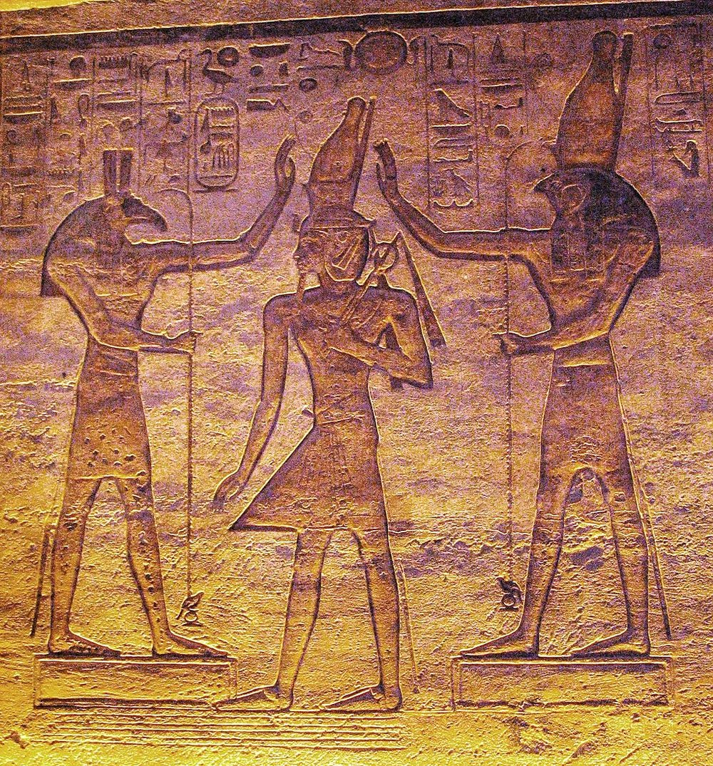 At some point, Horus and Seth seem to have made up, for here they are both adoring Ramses