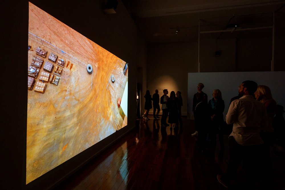 Far From Here, 2016, Four channel video installation with four channel sound. (Installation View) Fremantle Arts Centre. Image courtesy of Jessica Wyld.